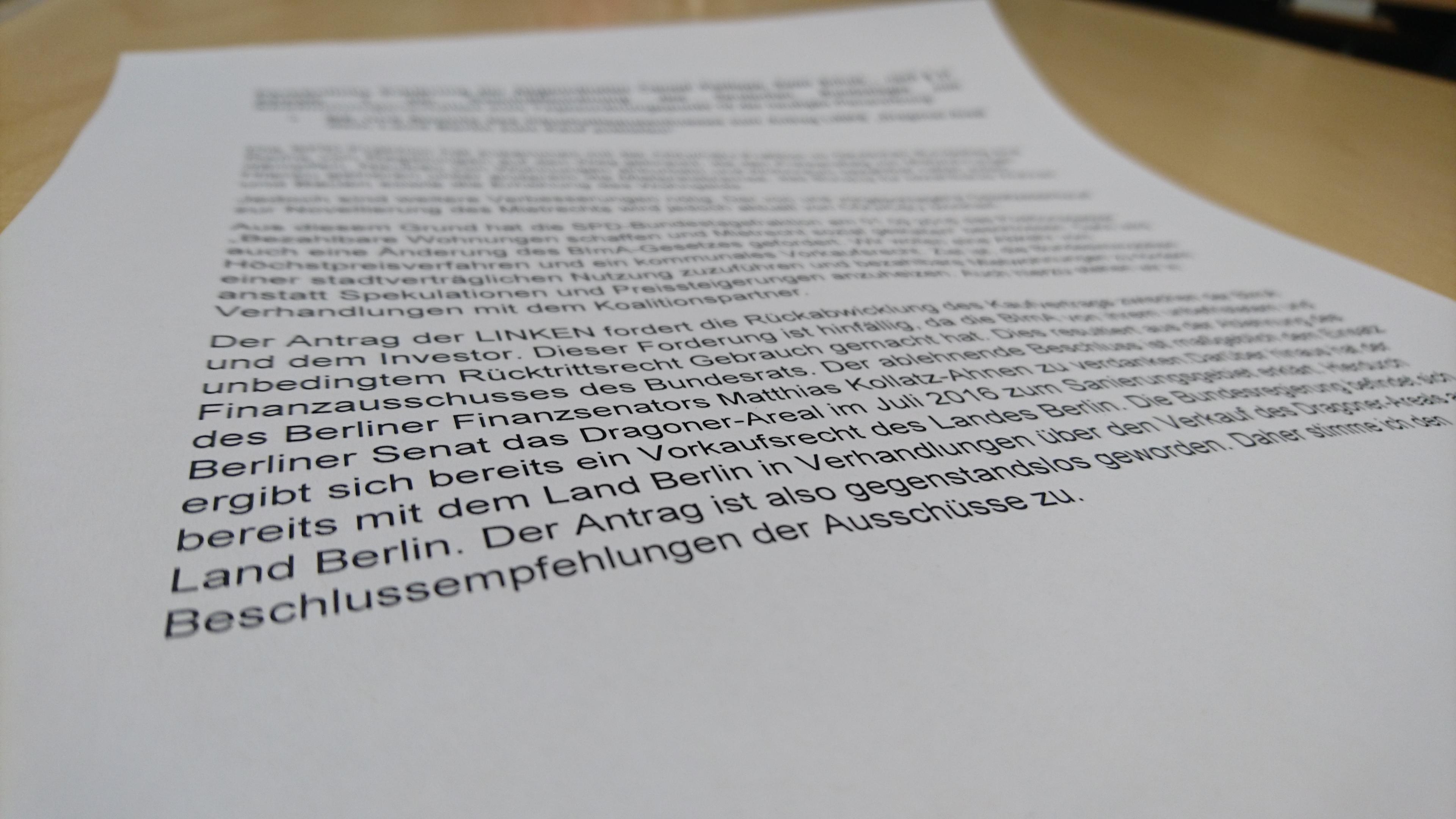 """Meine persönliche Geschäftsordnungserklärung zum Antrag der LINKEN """"Dragoner-Areal dem Land Berlin zum Kauf anbieten"""""""
