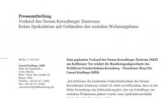 Pressemitteilung zum Verkauf des Neuen Kreuzberger Zentrums - Keine Spekulation mit Gebäuden des sozialen Wohnungsbaus
