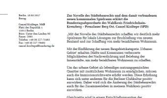 """Pressemitteilung Neue Baukategorie """"Urbanes Gebiet"""""""