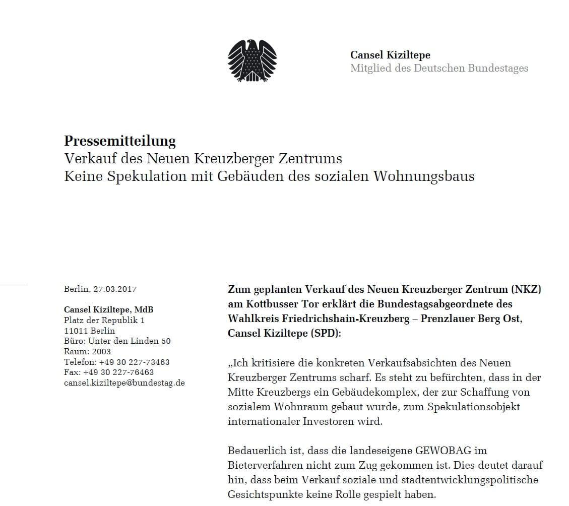 Pressemitteilung zum Verkauf des Neuen Kreuzberger Zentrums – Keine Spekulation mit Gebäuden des sozialen Wohnungsbaus