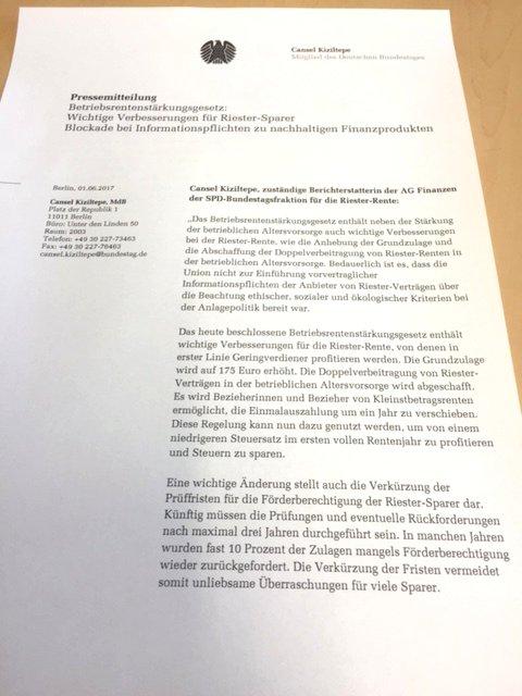 Betriebsrentenstärkungsgesetz:  Wichtige Verbesserungen für Riester-Sparer – Blockade bei Informationspflichten zu nachhaltigen Finanzprodukten