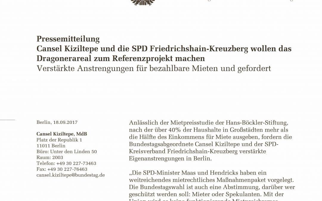 Pressemitteilung: Cansel Kiziltepe und die SPD Friedrichshain-Kreuzberg wollen das Dragonerareal zum Referenzprojekt machen